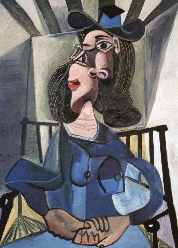 ピカソ 帽子をかぶって椅子に座る女性