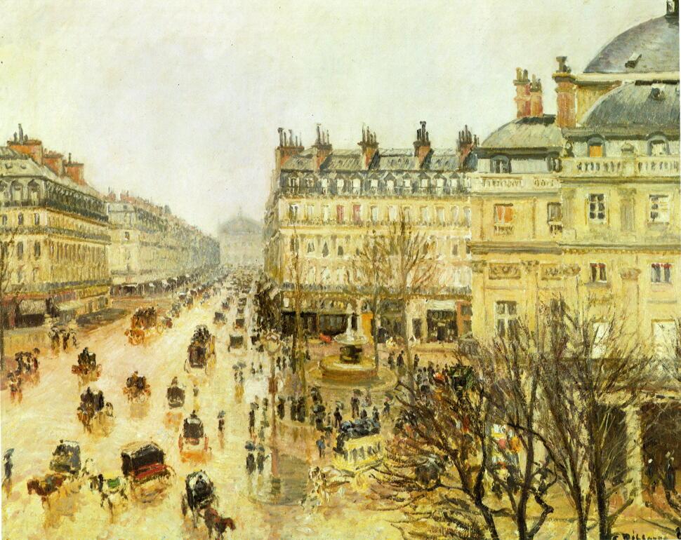 ピサロ パリのテアトル・フランセ広場、雨